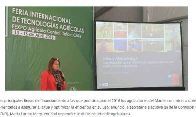 Inversión en infraestructura de riego llegará a 20 mil millones de pesos